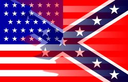 Civil War Flag Blend. The flag of the opposing sides during the American Civil War Stock Image
