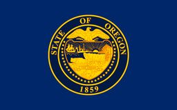 Flag of Oregon, USA. Flag of Oregon is a state in the Pacific Northwest region of the United States Stock Images
