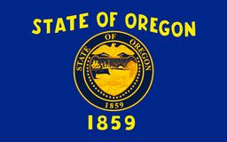 Flag of Oregon, USA. Flag of Oregon is a state in the Pacific Northwest region of the United States Stock Image