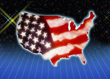 Flag and outline of the USA Royalty Free Stock Photos