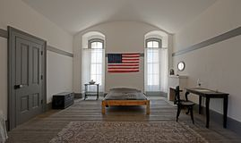 Flag over bed Royalty Free Stock Photography