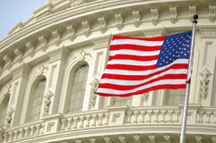 Flag over Capitol. The American flag flies over the Capitol dome in Washington, DC Royalty Free Stock Photography