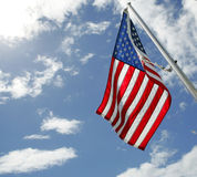 Flag over Pearl Harbor. Flag flying over the Pearl Harbor memorial, Hawaii Royalty Free Stock Photography