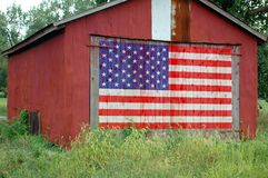 Flag Painted on Barn. United States flag painted on barn door royalty free stock photography