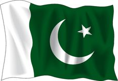 Flag of Pakistan. Waving flag of Pakistan isolated on white Stock Images