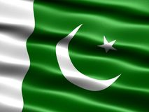 Flag of Pakistan. Computer generated illustration with silky appearance and waves Royalty Free Stock Photos