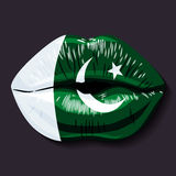 Flag of Pakistan. Foreign language school concept. Lips, open mouth, flag of Pakistan Islamic Republic of Pakistan. Sovereign states in Asia recognized Stock Photos