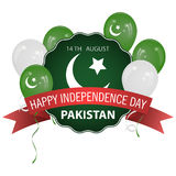 Flag of Pakistan. Pakistan Independence Day. Balloons of different colors. Stock Stock Photos