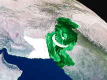 Flag of Pakistan from space Stock Image
