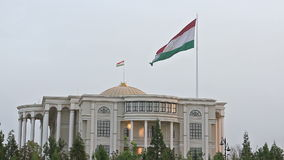Flag of the Palais des Nations. Dushanbe, Tajikis stock footage