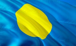 Flag of Palau. 3D Waving flag design. The national symbol of Palau, 3D rendering. National colors of Palau 3D Waving sign. Background design. 3D ribbon royalty free stock image