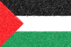 Flag of Palestine background o texture, color pencil effect. Royalty Free Stock Photo