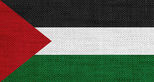 Flag of Palestine on old linen Royalty Free Stock Photo