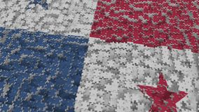 Flag of Panama being made with jigsaw puzzle pieces. Panamian problem solution conceptual 3D rendering. Flag made of puzzle pieces, conceptual 3D royalty free illustration