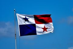 Flag of Panama flying in the wind royalty free stock photo