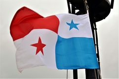 Flag of the Panama over the cargo ship. royalty free stock photography