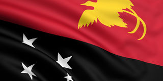 Flag Of Papua New Guinea. 3d rendered and waving flag of papua new guinea Royalty Free Stock Photo