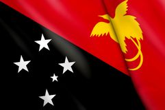 Flag of Papua New Guinea. This is an illustration of folded flag Royalty Free Stock Images