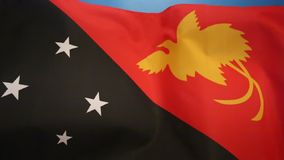Flag of Papua New Guinea. The flag of Papua New Guinea was adopted on July 1, 1971. It depicts the Southern Cross and a Raggiana bird of paradise. The designer stock video footage