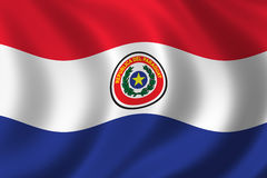 Flag of Paraguay. Waving in the wind Royalty Free Stock Photo