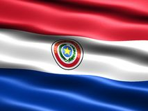 Flag of Paraguay. Computer generated illustration with silky appearance and waves Stock Images