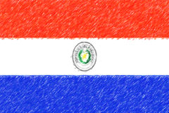 Flag of Paraguay background o texture, color pencil effect. Royalty Free Stock Photos