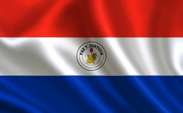 Flag of Paraguay. Part of the series. Paraguay flag blowing in the wind Stock Photo