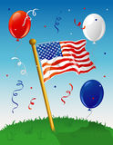 Flag Party background. Illustration of an American flag on a lawn, with a festive background Stock Image