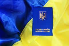 Flag and passport of Ukraine Royalty Free Stock Photo