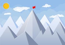Flag on peak of mountain. Business success, target, triumph, goal or achievement. Winning of competition. Rocky mountains, sky with clouds and sun. Vector Royalty Free Stock Photo