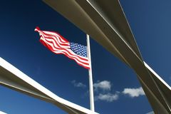 Flag in pearl harbor. American flag flying on the Arizona Memorial at Pearl Harbor, Hawaii stock photos