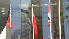Flag of People`s Republic of China and Hong Kong stock video footage
