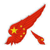 Flag of People's Republic of China on abstract Wing and white ba Stock Images