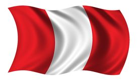 Flag of Peru. Waving in the wind Stock Photos