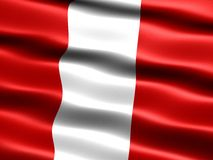Flag of Peru. Computer generated illustration with silky appearance and waves Royalty Free Stock Photo