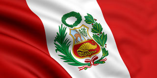 Flag Of Peru. 3d rendered and waving flag of peru Royalty Free Stock Image