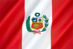 Flag of Peru. Adopted by the government of Peru in 1825. Flag day in Peru is celebrated on 7th June the anniversary of the Battle of Arica Royalty Free Stock Photos