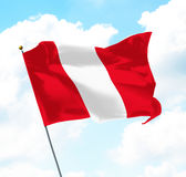 Flag of Peru. Raised Up in The Sky Royalty Free Stock Photo