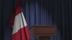 Flag of Peru and speaker podium tribune. Political event or statement related conceptual 3D animation