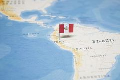 The Flag of peru in the world map.  stock photography