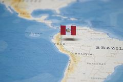 The Flag of peru in the world map.  stock images