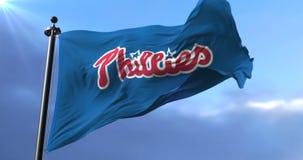 Flag of the Philadelphia Phillies, american professional baseball team - loop. Flag of the team of the Philadelphia Phillies, american professional baseball team stock video footage