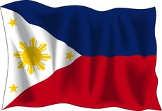 Flag of Philippines. Waving flag of Philippines isolated on white Royalty Free Stock Images