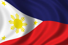 Flag of Philippines. Waving in the wind Stock Photos