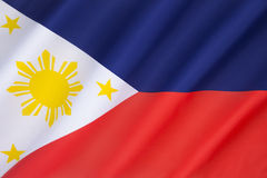 Flag of the Philippines. Adopted 12thJune 1898. This flag can indicate a state of war if it is displayed with the red side to the top Stock Photo