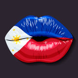 Flag of Philippines. Foreign language school concept. Lips, open mouth, flag of Philippines Republic of the Philippines. Sovereign states in Asia stock illustration