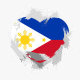 Flag of the Philippines. Isolated on grunge heart. Vector illustration royalty free illustration