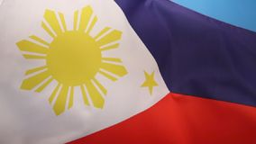 Flag of the Philippines. The National Flag of the Philippines. This flag can indicate a state of war if it is displayed with the red side at the top stock video