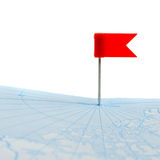 Flag a pin on map isolated Stock Photography