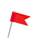 Flag pin red color isolated on white. Stock Photos